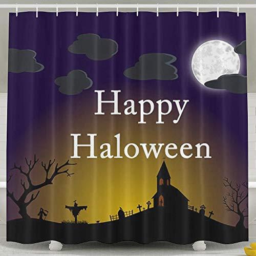 (OKLETY Personalisierte Wasserdichte Badezimmer-Vorhänge – Halloween-Scary-Day Duschvorhang 152,4 x 182,9 cm)
