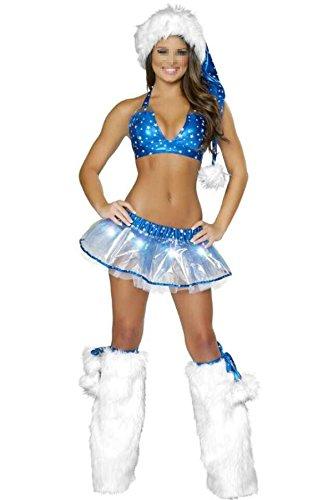 Damen Halloween Sexy Cheerleader Frauen Spiel Anzüge Charms Night Games Kostüme,Blue-OneSize (Blue Krankenschwestern Kostüm)