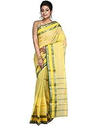 Hawai Fashionable Striped Yellow Cotton Tant Saree