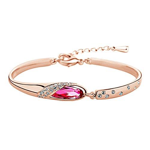 Adisaer Armband Rosegold Vergoldet Armband Damen mit Kristallen Armbänder mit Zirkonia Rose Rot 16+3CM Erweiterung (Erweiterungen Kostüm)