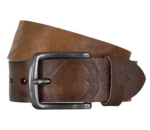 LLOYD Men's Belts Gürtel Herrengürtel Ledergürtel Vollrindleder Beige 4326, Farbe:Braun, Länge:90