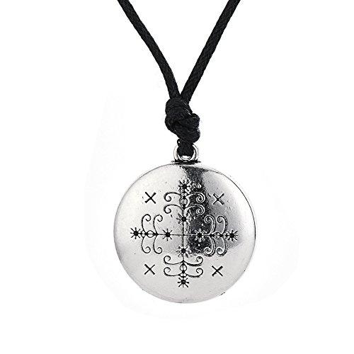 fishhook Wicca Papa Legba Voodoo Loa Veve Anhänger Halskette für Mann und Frauen