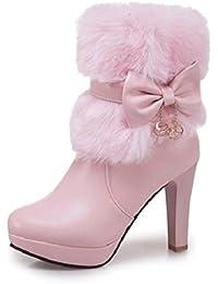 Best 4U® Damen Schuhe Kunstleder Winter Modische Stiefel Stiefel  Blockabsatz Runde Zehe Booties Stiefeletten Schleife 1e99e9217d
