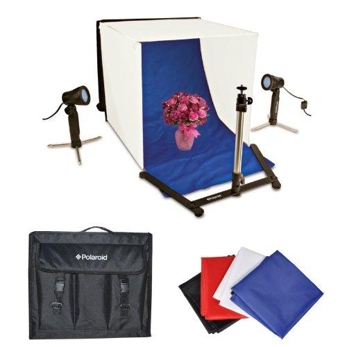 Polaroid Foto Studio Lichtzelt Set, beinhaltet 1Zelt, 2Lichter, 1Stativ, 1Tragetasche, 4Kulissen (schwarz, blau, weiß, rot)