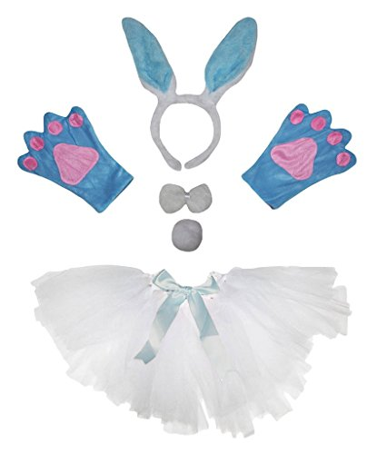 Rabbit Handschuhe Kostüm White - Petitebelle Light Blue Bunny Costume Headband Gloves White Tutu 5pc Set for Lady (One Size)