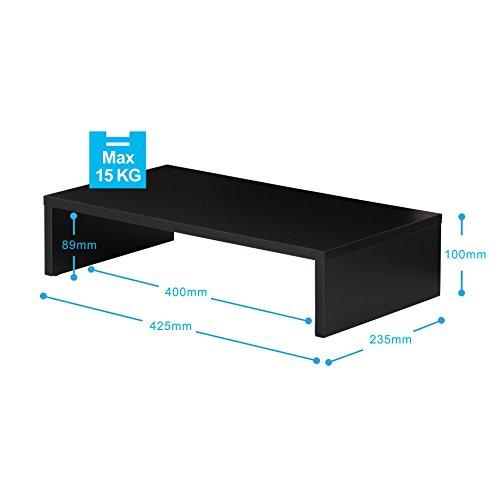 FITUEYES Monitorständer aus Holz 42,5x23,5x10cm schwarz mit Stauraum DT104201MB - 2