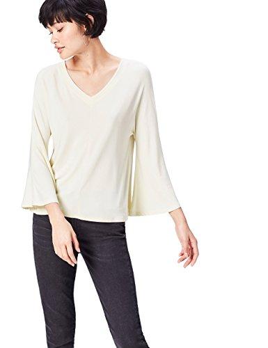 FIND V Neck Tie Back Camisa Para Mujer, Marfil (Cream), 36 (Talla del Fabricante: X-Small)