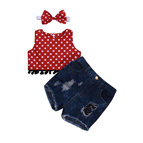 JUTOO 3 Stücke Set Infant Baby Kinder Mädchen Polka Dot Weste Top + Denim Shorts + Stirnband Outfit Set (Schwarz,80)