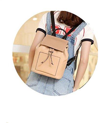 Modische Damentaschen Koreanische Version Des Rucksacks Joker Trendy Flip Rucksack Apricot