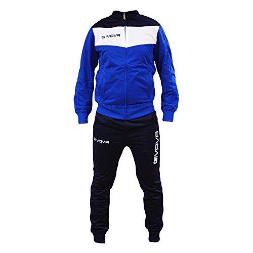Tuta Uomo Givova Campo Fitness Palestra Allenamento Training Calcio (M, Azzurro/Bianco/Blu)