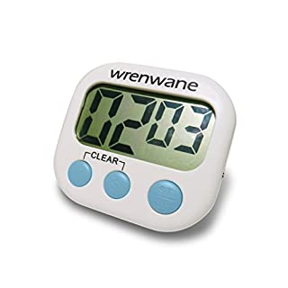 Wrenwane Digital Kitchen Timer (Upgraded Version) Big Digits, Loud Alarm, Magnetic Backing, Stand, USA Best Seller for 5+ Years with 6000+ Reviews! White