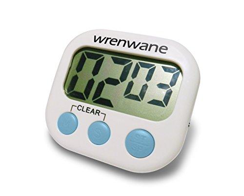 Wrenwane Küchentimer digital, große Ziffern, lauter Alarm, magnetische Rückseite, Ständer, Weiß