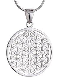 Vinani Anhänger Lebensblume Blume des Lebens Mandala klein mit Schlangenkette Sterling Silber 925 Kette Italien ALB-S