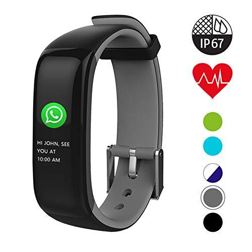QUDER® Fitness Armband Damen und Herren - wasserdicht (IP67) - inkl. GPS - Schlafmonitor - Kalorienzähler - Herzfrequenz - Blutdruckmessung (Kinder)