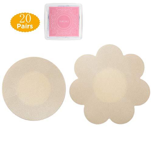 Tripetals Wasserdichte Unsichtbare Nippelabdeckung Einweg Brust Aufkleber Nippel Cover Nippelpads (Round&Flower)