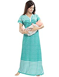 TUCUTE Women's Beautiful Checks Print with Border Feeding/Maternity / Nursing Nighty/Nightwear.