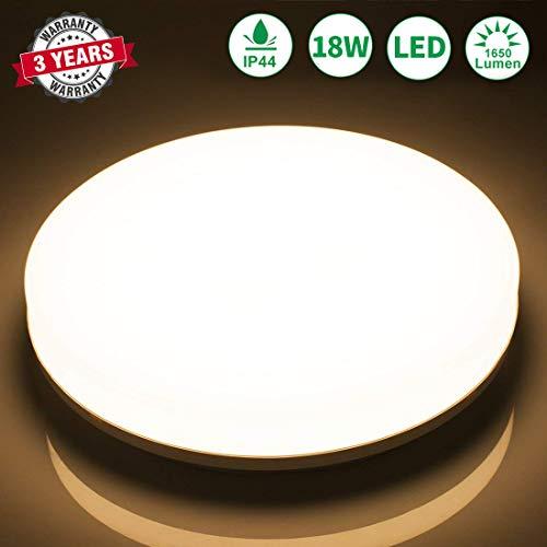 Airand LED Deckenleuchte Warmweiss 3000K 18W 1650LM Badezimmer Lampe Wasserfest IP44 LED Deckenlampe für Bad Flur Badezimmer Schlafzimmer Küche Balkon Wohnzimmer - Traditionelle Badezimmer Halterung