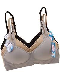manjiamei mujeres niñas formación Spors Yoga sujetador de algodón sujetador de alambre libre 3/4cup B taza