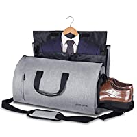 Convertible Garment Bag with Shoulder Strap, Carry on Duffel Gym Bag for Men Women - 2 in 1 Hanging Suitcase Suit Travel Bags (Grey)