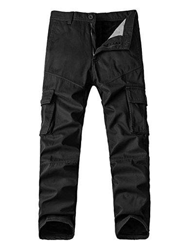 Menschwear Herren Cargo Hosen Freizeit Multi-Taschen Fleece gefütterte (34,Black) (Assn Herren Jean Us Polo Slim)