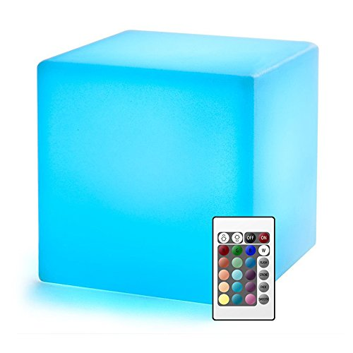 20cm LED Cubo Luz Nocturna Infantil con Control Remoto, Lampara de Mesilla de Noche Pilas para Bebé y Niños 8 Brillo Regulable -16 Colores RGB Ajustables -4 Modos de Color-cambiante