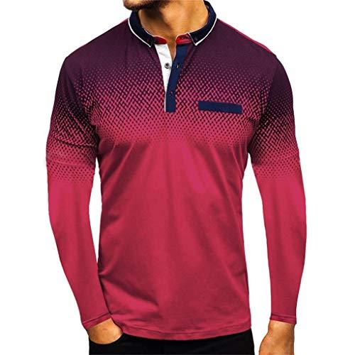 Crazboy Herren Gradient Hemden Streifen Spleißen Muster Beiläufig Mode Revers Lange Ärmel Hemd(XX-Large,Rot-B) (Herren Lauf Disney Kostüm)