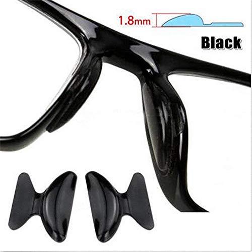 5 Paare Silizium Anti-Rutsch-Patch Selbstklebend auf den Nasenpads für Brillen, Sonnenbrille, Brille, Gläser (1,8mm, Schwarz)