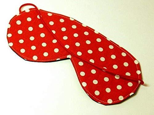 Schlafbrille aus Stoff - MAXI DOTS ROT - mit Gummiband - waschbar - Schlafmaske/Schlaf-Brille/Schlaf-Maske - aus Baumwollstoff/Baumwolle - Geschenk Geburtstag Muttertag -