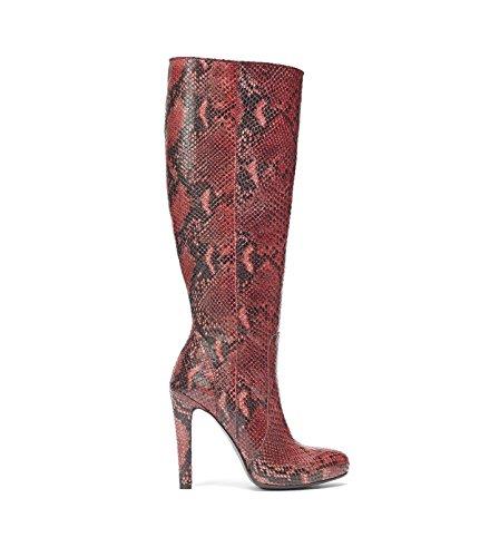 Poi Lei PoiLei Damen Langschaft-Stiefel mit Schlangen-Muster Janine Echt-Leder Stiefel Rot (Echte Schlange Stiefel)