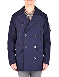 Stone Island Men's MCBI284243O Blue Wool Coat
