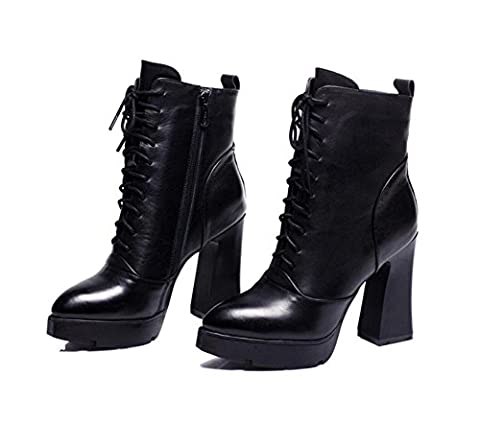 Woman's Ribbon Lace Up Cross Strap Waterproof Chunky High heels Cotton Martin Boots , black , 37