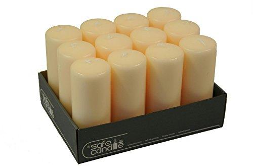 15 Creme (Große & Schmale Stumpenkerze/Kranzkerze (Safe Candle) - Creme - Höhe 15cm / Ø 6cm - 12 Stück - Hohe Brenndauer - Selbstverlöschend - Hochwertige Kerze mit integriertem Dochthalter)