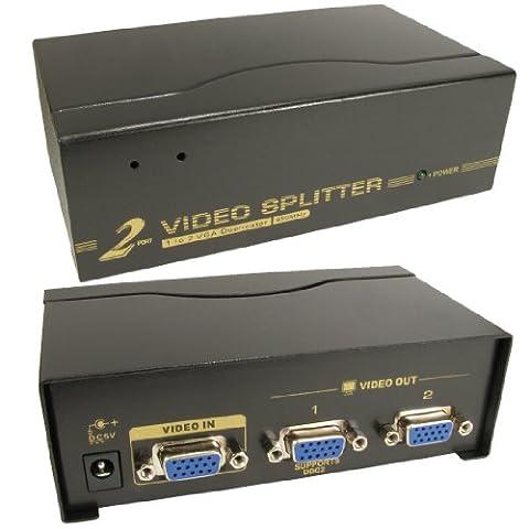 2 Port Way SVGA VGA Splitter Box Boosts Signal too