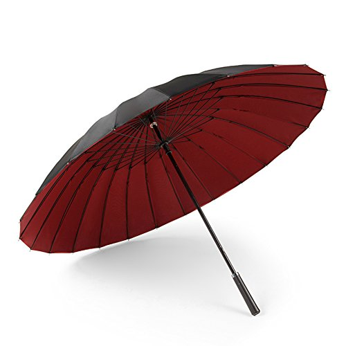 24 Parapluie De Voyage D'os Double Couche Parapluie d'affaires À Long Manche Parapluie Grand Double Parapluie (Couleur : Red)