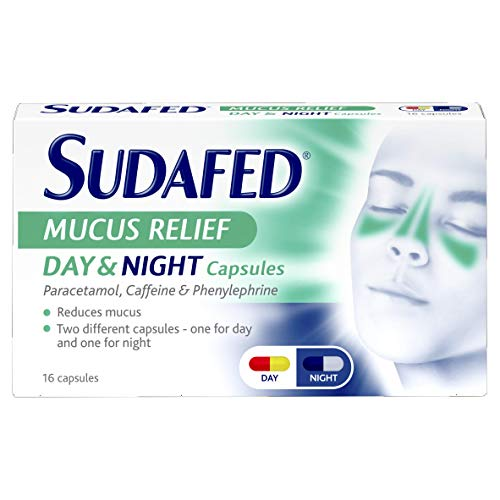 Sudafed Mucus Relief Day & Night Capsules, 16-Count