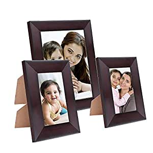 Amazon Brand - Solimo Collage Photo Frames, Set of 3, Tabletop (2 pcs - 5x7 inch, 1 pc - 8x10 inch), Rosewood Color