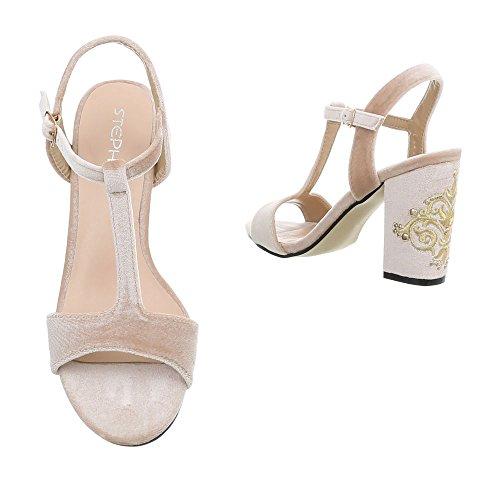 Ital-Design High Heel Sandaletten Damenschuhe Pump Heels Schnalle Sandalen Beige LT-62