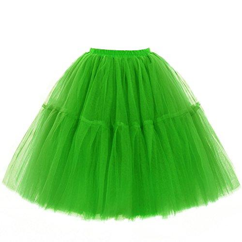 Babyonline Damen Tüllrock 5 Lage Prinzessin Kleider Knielang Petticoat Ballettrock Unterrock Pettiskirt Swing Einheitsgröße - Grün