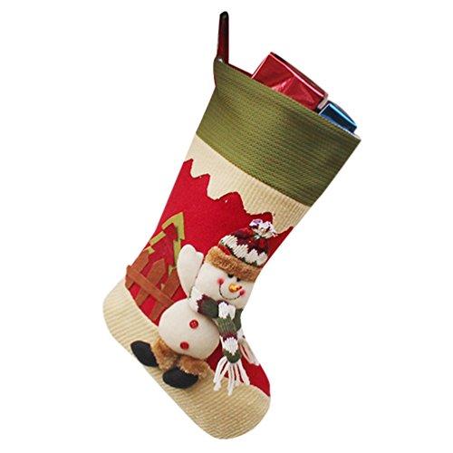 Yilianda calza di natale con decorazione 3d fatta a mano in non tessuta disegni calza pupazzo di neve renna babbo natale ornamento natalizio da appendere