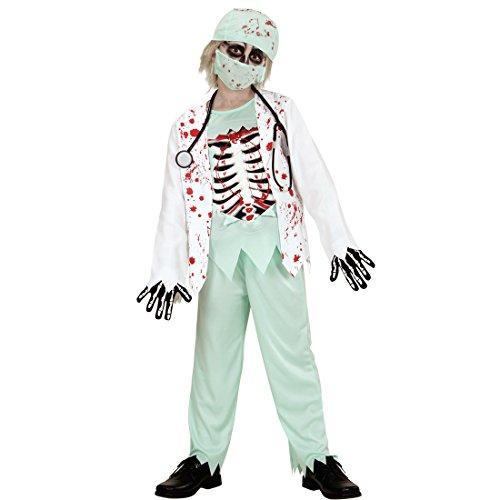 erkostüm Kinder Zombie Kostüm S 128 cm Arzt Halloweenkostüm Junge Halloween Zombiekostüm Krankenhaus Arztkostüm Junge Horror Chirurg Jungenkostüm ()