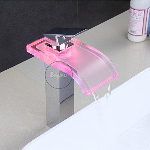 Messing-glas-brunnen (Galvanik Galvanik Retro Retro Wasserhahn Wasserhahn keine Batterie Deck montiert hohe Waschtisch Armatur. Messing Glas Auswurfkrümmer LED Wasserhahn. Mischbatterie Wasser Strom, chrom Tippen)