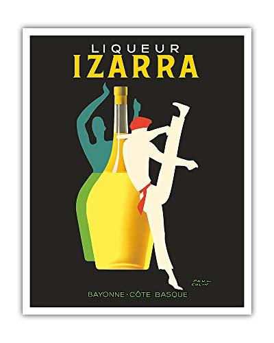 Pacifica Island Art - Licor Izarra - Bayona, País Vasco - Bailarina Gerriko - Póster publicitario de Paul Colin c.1948 - Impresión de Arte - 41 x 51 cm