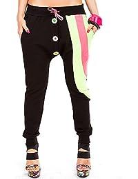24brands Damen Pump Hose Harem Fitnesshose Jogginghose Sporthose Aladinhose Zipper 3 Modelle mehrere Farben S M L XL XXL - 2934
