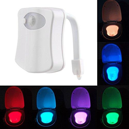 Preisvergleich Produktbild Bunte Bewegungs-Sensor-WC-Nachtlicht Toilettenlicht Start WC Badezimmer Toilettenbeleuchtung Menschlicher Körper Auto-Bewegung aktivierte Sensor Sitz Licht Nachttischlampe 8-Farben-Änderungen (Aktiviert nur in der Dunkelheit)