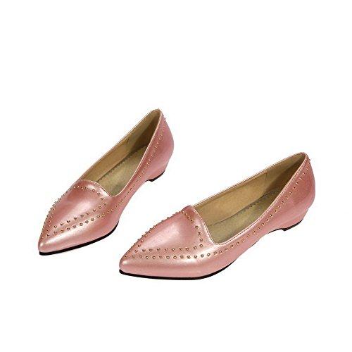 AllhqFashion Femme Tire Pointu à Talon Bas Couleur Unie Chaussures Légeres Rose