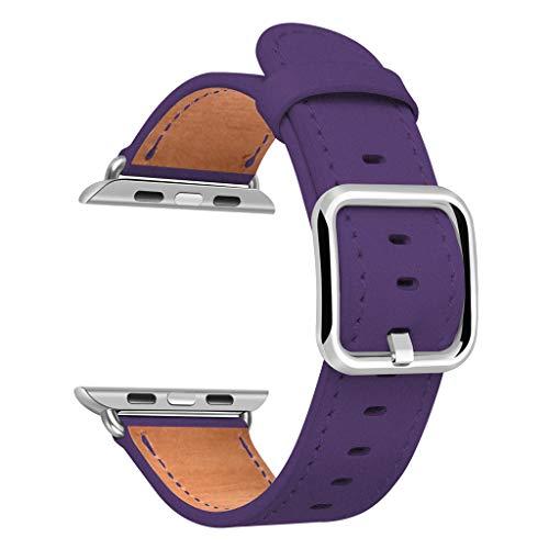 SYY Sport Watch Armband, Lederarmband Ersatz Für Apple Watch 3 4 38mm Watch Band echt Leder Uhrenarmband mit schwarzer Adapter Ersatzband (Lila)