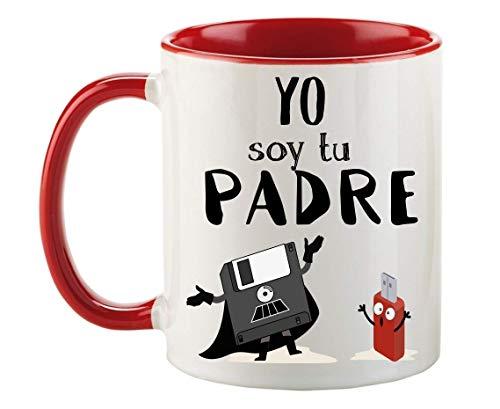 FUNNY CUP Taza Dia del Padre. Yo Soy tu Padre. Regalo Divertido de Star Wars. Frikis papás. (Rojo)
