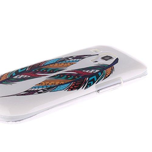 Samsung Galaxy S3 Mini hülle MCHSHOP Ultra Slim Skin Gel TPU hülle weiche Silicone Silikon Schutzhülle Case für Samsung Galaxy S3 Mini - 1 Kostenlose Stylus (Löwenzahn sich verlieben (Dandelions Fall  Tribal Aztec Feder (Tribal Aztec Feather)