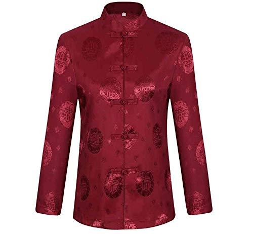 Antike China Von Kostüm - XPF Traditionelles China Antikes Kostüm Kampfkunst Tangzhuang Kung Fu Jacke Anzüge Hemd Outfit Männer Und Frauen,Red[femalemodels]-S
