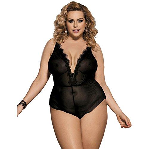 Stewardess Kostüm Size Plus (Damen Dessous Deep V-Ausschnitt Spitze Babydoll Unterwäsche Trikot Versuchung Nachtwäsche Plus Size ,)